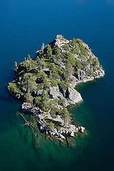 """Fannette Island, Lake Tahoe Aerial"" - Photograph of Fannette Island in Emerald Bay, Lake Tahoe. Shot from an amphibious seaplane with the door removed. The ""Tea House"" can be easily seen in the photo."