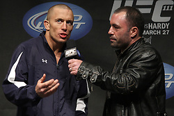 Mar 26, 2010; Newark, NJ, USA; George St. Pierre speaks with Joe Rogan about his upcoming bout on UFC 111 at the Prudential Center in Newark, NJ.