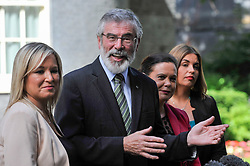 © Licensed to London News Pictures. 15/06/2017. London, UK. (L to R) Michelle O'Neill, leader of Sinn Féin, Gerry Adams, President, Mary Lou McDonald and Elisha McCallion in a press conference outside Number 10.  Members of the Northern Ireland Assembly visit Downing Street for talks with Prime Minister Theresa May following the results of the General Election.  The Conservatives are seeking to work with the Democratic Unionist Party in order to form a minority government. Photo credit : Stephen Chung/LNP