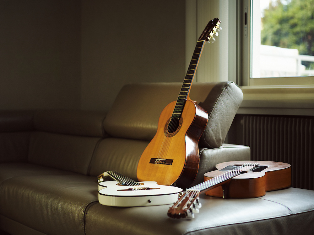 TOULOUSE, FRANCE. DECEMBER 18, 2013. Three guitars owned by Tonino Baliardo, lead guitarist of the Gipsy Kings. Photo: Antoine Doyen