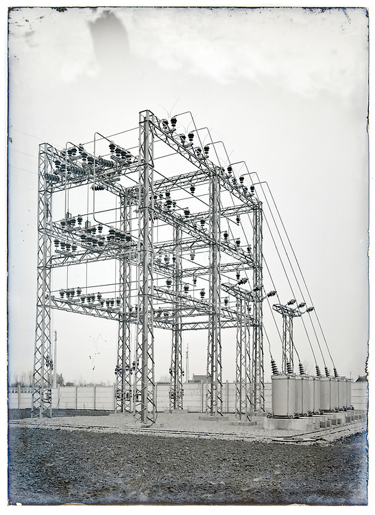early electrical high voltage power distribution network on glass plate France circa 1930s