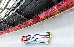 25.02.2018, Olympic Sliding Centre, Pyeongchang, KOR, PyeongChang 2018, 4er Bob, Herren, 3. Lauf, im Bild Yunjong Won, Junglin Jun, Youngwoo Seo, Donghyun Kim (KOR) // Yunjong Won Junglin Jun Youngwoo Seo Donghyun Kim (KOR) during the men's 4-man bob heat 3 for the Pyeongchang 2018 Winter Olympic Games at the Olympic Sliding Centre in Pyeongchang, South Korea on 2018/02/25. EXPA Pictures © 2018, PhotoCredit: EXPA/ Johann Groder