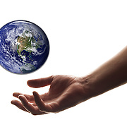 Concept of saving the planet through an helping hand to alleviate global dangers.