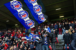 A Bath Rugby fan in the crowd waves a giant flag in support - Mandatory byline: Patrick Khachfe/JMP - 07966 386802 - 20/01/2019 - RUGBY UNION - Stade Ernest Wallon - Toulouse, France - Toulouse v Bath - Heineken Champions Cup