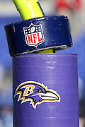 The NFL shield and Baltimore Ravens logo appear on goal post padding before the AFC Wild Card Playoff football game against the Indianapolis Colts on Sunday, Jan. 6, 2013 in Baltimore. The Ravens won the game 24-9. ©Paul Anthony Spinelli