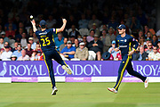 Chris Wood of Hampshire celebrates taking the catch to dismiss Peter Trego of Somerset off the bowling of James Fuller of Hampshire during the Royal London 1 Day Cup Final match between Somerset County Cricket Club and Hampshire County Cricket Club at Lord's Cricket Ground, St John's Wood, United Kingdom on 25 May 2019.