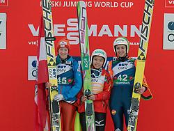 01.02.2014, Energie AG Skisprung Arena, Hinzenbach, AUT, FIS Ski Sprung, FIS Ski Jumping World Cup Ladies, Hinzenbach, Wettkampf im Bild das Siegerpodest 2. #45 Daniela Iraschko-Stolz (AUT), Siegerin #47 Sara Takanashi (JPN), 3. #42 Maja Vtic (SLO) // during FIS Ski Jumping World Cup Ladies at the Energie AG Skisprung Arena, Hinzenbach, Austria on 2014/02/01. EXPA Pictures © 2014, PhotoCredit: EXPA/ Reinhard Eisenbauer
