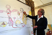 """Gerald Searfe drawing at Trafalgar Square event """"Art in the Square"""" september 2004 where hundreds of artists had just one day to recreate  Constables famous painting  in The National Gallery, London. ."""