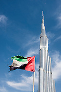 United Arab Emirates flag flutters in the breeze
