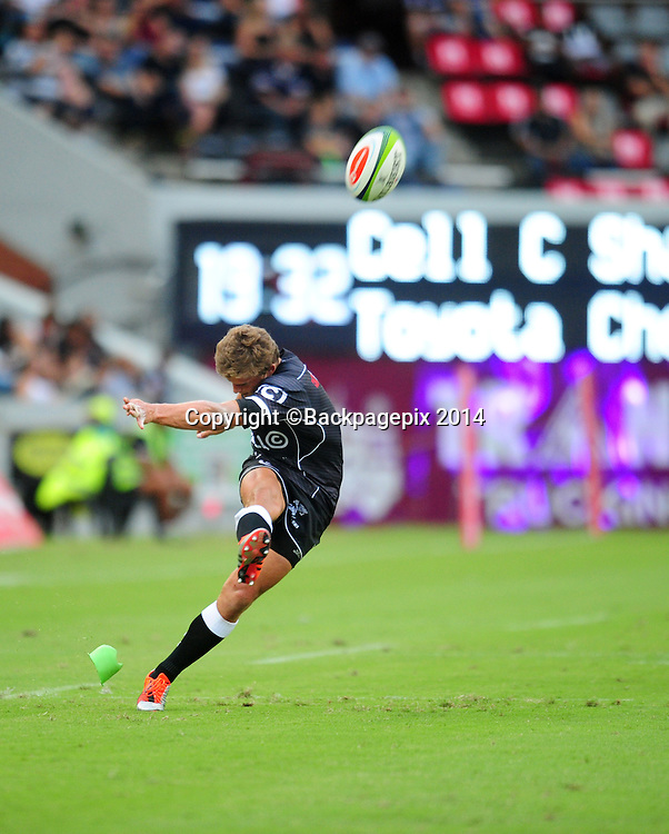 Patrick Lambie of the Sharks during the 2015 Super Rugby Sharks match between Sharks and Cheetahs at the Kings Park Stadium in Durban on the 14th of February 2015<br /> <br /> &copy;Sabelo Mngoma/BackpagePix