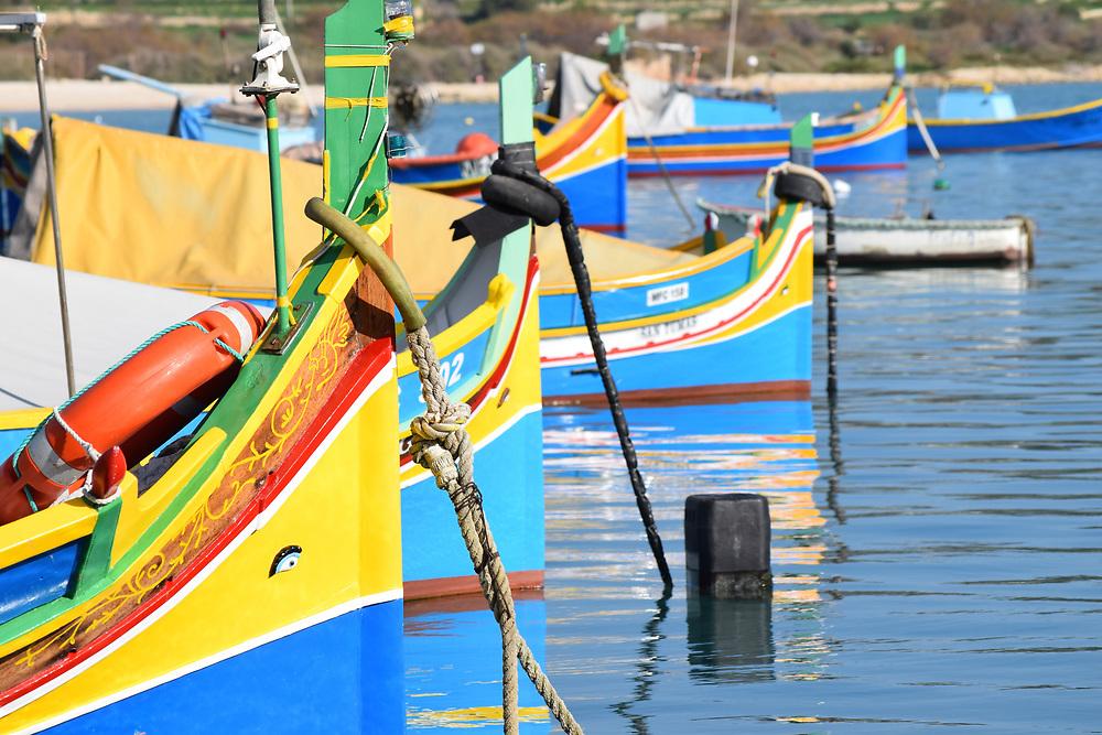 Bow of fishing boats in  in Marsaxlokk