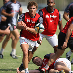 Patrick Lambie<br /> is pictured during the Sharks training session at the Absa Stadium on Tuesday 30th March 2010 in Durban, South Africa. . Photo by Steve Haag