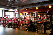 Badger fans enjoy food and beverages in the Sett during Badger Bash at Union South in 2012.