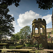 The graveyard of St. James Church Thornton, near Bradford. The remain of the original Thornton Church, where Rev. Patrick Bronte was appointed curate in 1815. Charlotte, Emily, Ann and Branwell Bronte were born in nearby Market Street and baptised in the chapel.