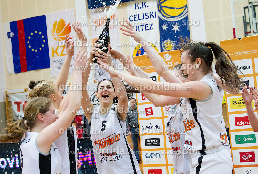 Marica Gajic and other players of Celje celebrate after winning the basketball match between ZKK Athlete Celje and ZKK Domzale in final of Slovenian Women Basketball Cup 2013, on March 3, 2013 in Celje, Slovenia.  Celje defeated Domzale 79-59 and became Slovenian Cup Champion 2013. (Photo By Vid Ponikvar / Sportida)