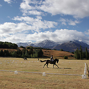 Verona Mitchell ring Sovereign Fern in action during the Dressage event with the stunning backdrop of The Remarkables Mountain Range at the Wakatipu One Day Horse Trials,  Queenstown, Otago, New Zealand. 15th January 2012. Photo Tim Clayton