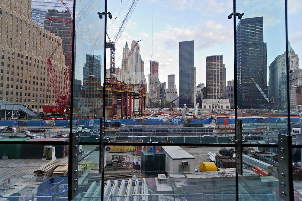 Looking at World Trade Center, Twin Tower Site,  site, World Financial Center, Winter Garden, New York City, New York,