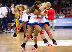 Cheerleaders during the Preliminary Round - Group B basketball match between National teams of USA and Slovenia at 2010 FIBA World Championships on August 29, 2010 at Abdi Ipekci Arena in Istanbul, Turkey.  (Photo by Vid Ponikvar / Sportida)