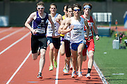 2011/05/28 - SUNY Fredonia's Nick Guarino leads the field in the 800-meter final at the 2011 NCAA Division-3 Championships. Guarino won in 1:49.89, having already won the 1500-meter run in 3:53.43, just eighty minutes earlier. Guarino was the first Division-3 runner to win both events since Nick Symmonds in 2006.