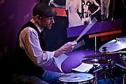 Frankfurt am Main | 19 Dec 2013<br /> <br /> Rola &amp; Alive Band live im Travolta in der Br&ouml;nnerstra&szlig;e in Frankfurt am Main, hier: Schlagzeuger Benno Sattler.<br /> <br /> &copy;peter-juelich.com<br /> <br /> [No Model Release | No Property Release]