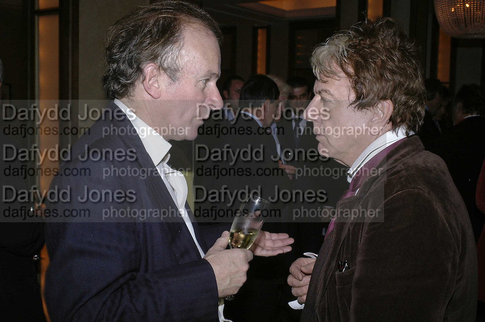 David Campbell and Nicky Haslam, Charles Finch and Weidenfeld and Nicolson host a party to celebrate the publication of 'Dancing Into Battle' by Nick Foulkes. The Westbury Hotel, Conduit St. London. 14 December 2006. ONE TIME USE ONLY - DO NOT ARCHIVE  © Copyright Photograph by Dafydd Jones 248 CLAPHAM PARK RD. LONDON SW90PZ.  Tel 020 7733 0108 www.dafjones.com