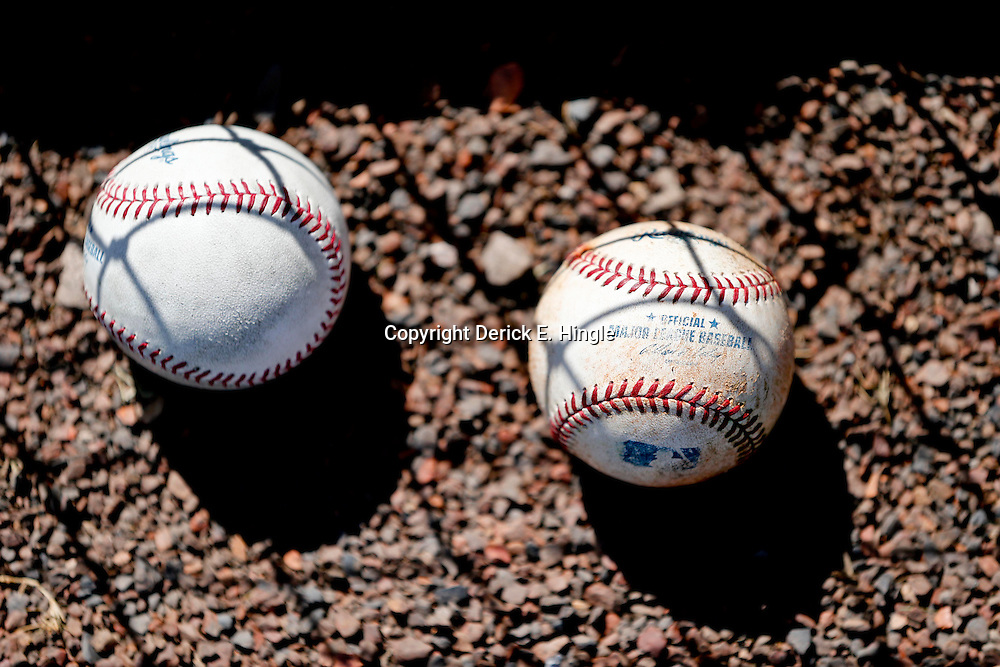 Mar 13, 2013; Bradenton, FL, USA; A detail of baseballs on the field before a spring training game between the Pittsburgh Pirates and the Toronto Blue Jays at McKechnie Field. Mandatory Credit: Derick E. Hingle-USA TODAY Sports