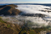 Low clouds in the valleys North of Scofield Reservoir in the early morning.