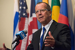 September 13, 2016 - New York, NY, United States - Following his appearance before the United Nations Security Council, Martin Kobler, Special Representative and Head of the UN Support Mission in Libya (UNSMIL) spoke with the press at the Security Council stakeout at UN Headquarters. (Credit Image: © Albin Lohr-Jones/Pacific Press via ZUMA Wire)