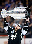 The Kings' Marian Gaborik celebrates with the Stanley Cup after Los Angeles defeated the New York Rangers 3-2 in double-overtime in Game 5 of the 2014 Stanley Cup Final at Staples Center Friday.