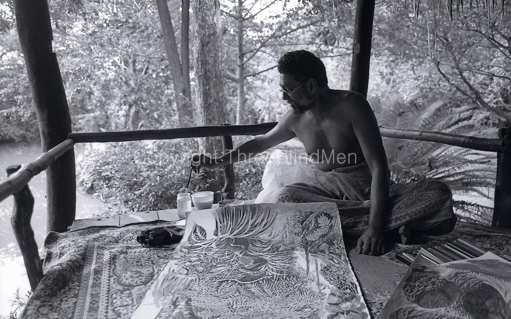 Laki Senanayake at work at his home, Diyabubula..October 1994.