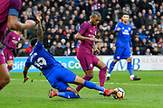 Nathaniel Mendez-Laing (19) of Cardiff City slides in to tackle Fernandinho (25) of Manchester City but gives away a foul during the The FA Cup 4th round match between Cardiff City and Manchester City at the Cardiff City Stadium, Cardiff, Wales on 28 January 2018. Photo by Graham Hunt.