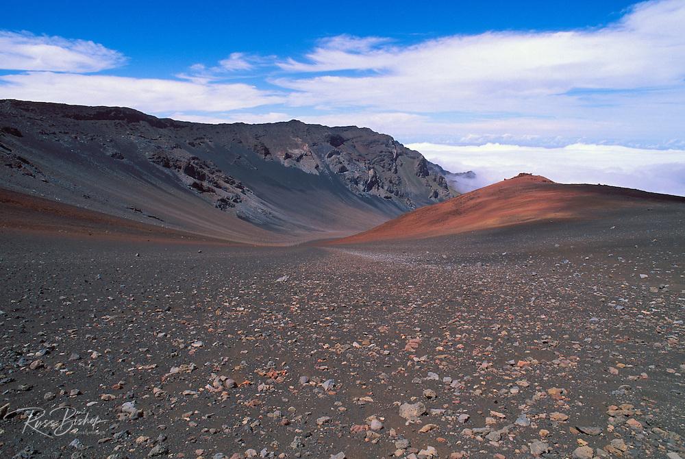 Lava field and cinder cone along the Sliding Sands Trail in Haleakala Crater, Haleakala National Park, Island of Maui, Hawaii