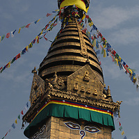 The top of the Swayambhunath stupa - aka the Monkey Temple - in Nepal.