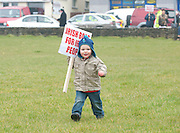 06/03/2013 Ronan Daly from Kylebrack Co. Galway protesting near the court house in Loughrea where turf cutters where up on charges in relation to the cutting of turf in an area of conservation. Picture:Andrew Downes.