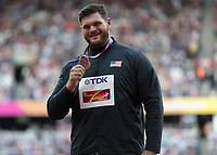 Athletics - 2017 IAAF London World Athletics Championships - Day Three, Evening Session<br /> <br /> Discus Medal Ceremony<br /> <br /> Mason Finlay (United States) with his Bronze medal at the London Stadium<br /> <br /> COLORSPORT/DANIEL BEARHAM