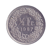 silver Half a Swiss Frank coin (50 cents) on white background