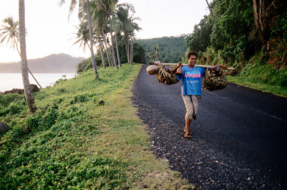 Western Samoa, walking to market