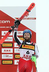 17.02.2019, Aare, SWE, FIS Weltmeisterschaften Ski Alpin, Slalom, Herren, 2. Lauf, im Bild Bronzemedaillengewinner Marco Schwarz (AUT) // bronze medalist Marco Schwarz of Austria reacts after his 2nd run of men's Slalom of FIS Ski World Championships 2019. Aare, Sweden on 2019/02/17. EXPA Pictures &copy; 2019, PhotoCredit: EXPA/ SM<br /> <br /> *****ATTENTION - OUT of GER*****