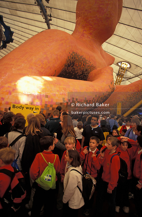 Schoolchildren and other visitors experience the Body Zone inside The Millennium Dome (later to become the 02 Arena) weeks after the Millennium, on 14th January 2000, in London, England.