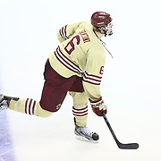 Steven Santini #6 of the Boston College Eagles on the ice during The Beanpot Championship Game at TD Garden on February 10, 2014 in Boston, Massachusetts. (Photo by Elan Kawesch)