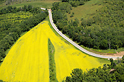 High over a canola field and Otter Creek, Route 73 west of Brandon, Vermont.