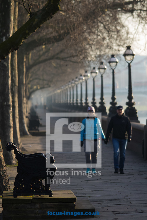 A couple enjoy the chill morning air and sunshine as they stroll along the River Thames at Cheyne Walk, London <br /> Picture by Paul Davey/Focus Images Ltd +447966 016296<br /> 24/02/2016