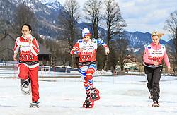 17.03.2017, Ramsau am Dachstein, AUT, Special Olympics 2017, Wintergames, Schneeschuhlauf, Divisioning 800 m, im Bild Hana Jabri (TUN), BIB 310, Tatiana Baranova (RUS), BIB 277, Rebecca Weiss (GER), BIB 131 // during the Snowshoeing Divisioning 800 m at the Special Olympics World Winter Games Austria 2017 in Ramsau am Dachstein, Austria on 2017/03/17. EXPA Pictures © 2017, PhotoCredit: EXPA / Martin Huber