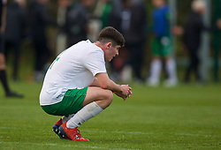 WREXHAM, WALES - Wednesday, October 30, 2019: Republic of Ireland's captain Darragh Reilly looks dejected after the 2019 Victory Shield match between Wales and Republic of Ireland at Colliers Park. Wales won 4-0. (Pic by David Rawcliffe/Propaganda)