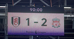 LONDON, ENGLAND - Sunday, March 17, 2019: Fulham's scoreboard records Liverpool's 2-1 victory over Fulham during the FA Premier League match between Fulham FC and Liverpool FC at Craven Cottage. (Pic by David Rawcliffe/Propaganda)