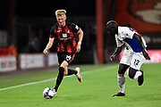 Sam Surridge (14) of AFC Bournemouth on the attack chased by Mamadou Sakho (12) of Crystal Palace during the EFL Cup match between Bournemouth and Crystal Palace at the Vitality Stadium, Bournemouth, England on 15 September 2020.