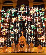 Christmas lights display above enormous pipe organ; Great Court; Lord & Taylor Department Store; Philadelphia; PA