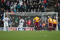 Milton Keynes Dons' Shaun Williams sends Bradford City's Jon McLaughlin the wrong way to equalise - Photo mandatory by-line: Nigel Pitts-Drake/JMP - Tel: Mobile: 07966 386802 23/11/2013 - SPORT - Football - Milton Keynes - Stadium MK - Milton Keynes v Bradford City - Sky Bet League One