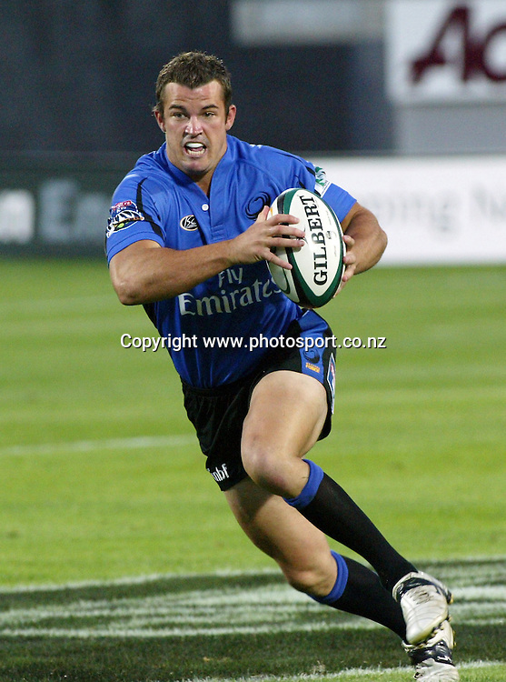 Haig Sare of the Western Force in action during the 2006 Super 14 rugby union match between the Hurricanes and the Western force at Yarrow Stadium, New Plymouth, on Saturday 18 February, 2006. Photo: David Fairey/PHOTOSPORT<br /><br /><br />146381