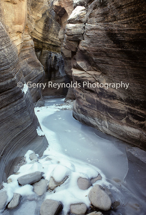 Slot Canyon, Frozen Pool of Water, Winter, Snow, Ice, Sandstone Canyon, Canyon, Sandstone, Zion National Park, Utah